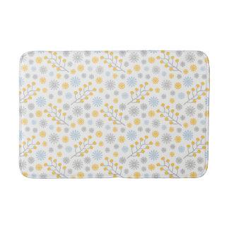 Modern Floral Blue Yellow & Gray Medium Bath Mat