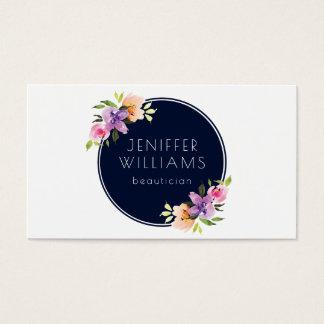 Modern Floral Bouquet Blue Circle Business Card