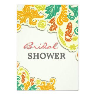 Modern floral bridal shower 5x7 paper invitation card