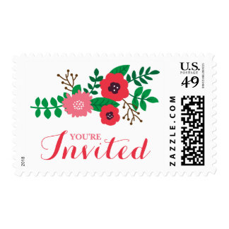 Modern Floral Bridal Shower (Blush and Ruby) Postage