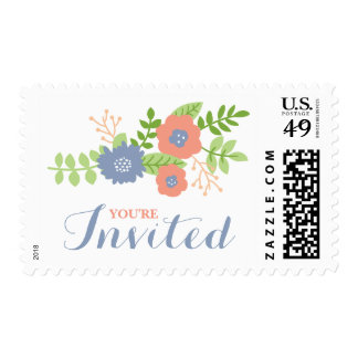 Modern Floral Bridal Shower (Coral, Peach & Blue) Postage