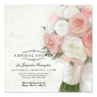 Modern Floral Bridal Shower Elegant Lace Damask Card