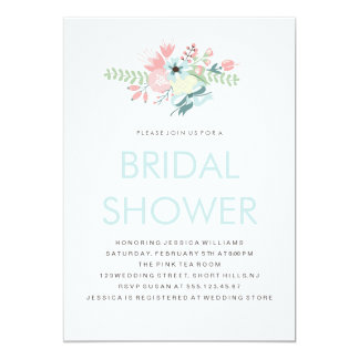 "Modern Floral Bridal Shower 5"" X 7"" Invitation Card"