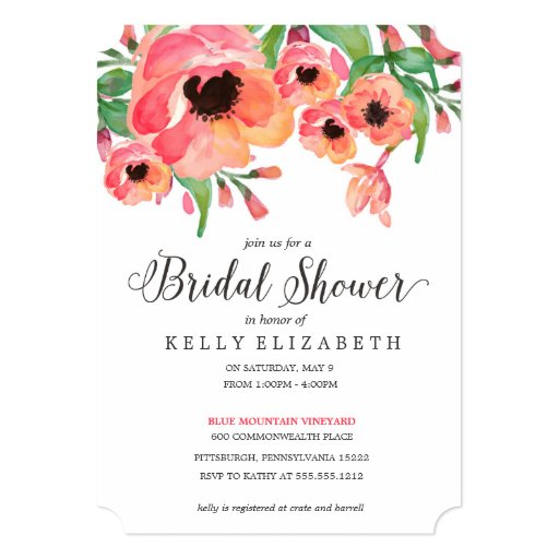 Modern floral bridal shower invitation zazzle for Flower bridal shower invitations
