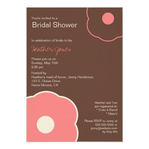 Modern floral bridal shower invitation coral pink zazzle for Modern bridal shower invitations