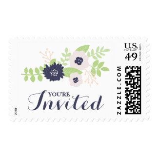 Modern Floral Bridal Shower (Navy Blue and Cream) Postage