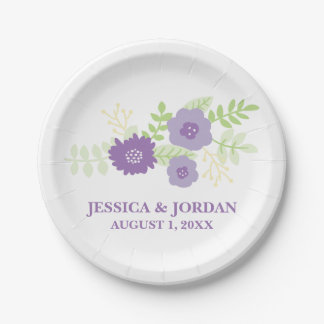 modern floral bridal shower purple and yellow paper plate