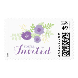 Modern Floral Bridal Shower (Purples and Yellow) Postage