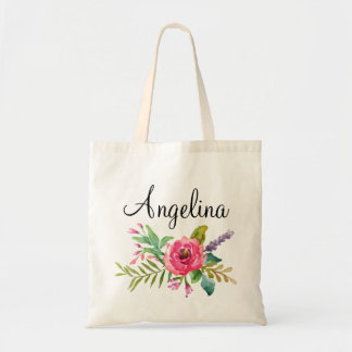 Modern Floral Bridesmaid Personalized Tote Bag