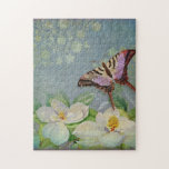 Modern Floral Butterfly w Magnolia Flower Blossom Jigsaw Puzzle