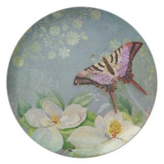 Modern Floral Butterfly w Magnolia Flower Blossom Melamine Plate