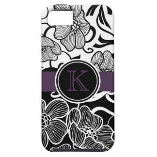Modern Floral BW with Purple Monogram iPhone 5 Covers