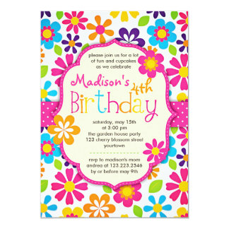 Modern Floral Colorful Spring Cute Birthday Party 5x7 Paper Invitation Card
