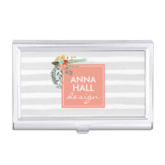 Modern Floral Coral and Gray Stripes Business Card Holder