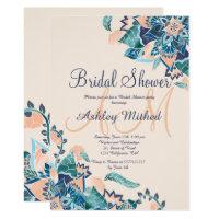 Modern floral coral teal watercolor Bridal Shower Card