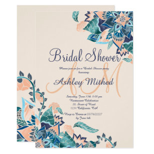 modern floral coral teal watercolor bridal shower invitation