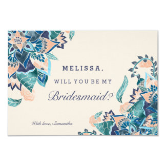 Modern floral coral teal watercolor bridesmaid card