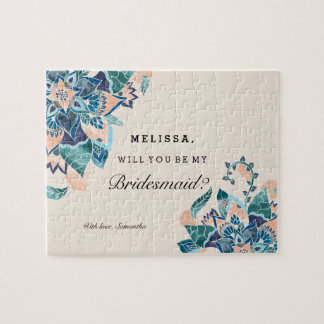 Modern floral coral teal watercolor bridesmaid jigsaw puzzle