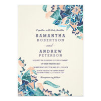 Modern floral coral teal watercolor wedding card