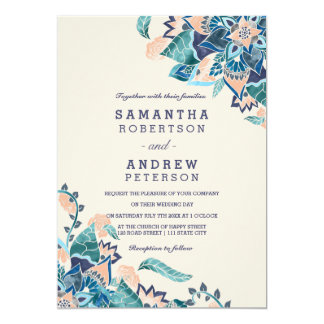Modern floral coral teal watercolor wedding invitation