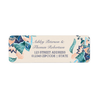 Modern floral coral teal watercolor wedding label