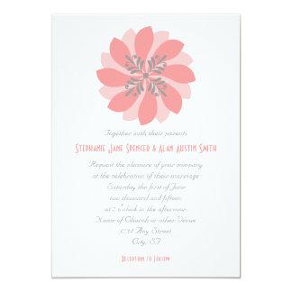 "Modern Floral Coral Wedding Invitation 5"" X 7"" Invitation Card"