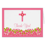Modern Floral Cross Religious Thank You Note Card