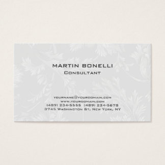 Modern Floral Damask White Grey Business Card