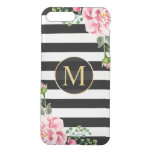 Modern Floral Decor Black White Stripes Monogram Iphone 7 Plus Case at Zazzle