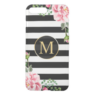 Modern Floral Decor Black White Stripes Monogram iPhone 7 Plus Case