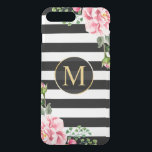 """Modern Floral Decor Black White Stripes Monogram iPhone 8 Plus/7 Plus Case<br><div class=""""desc"""">Decorate your iPhone in Style with this Personalized &quot;Modern Floral Decor Black White Stripes Monogram&quot; unique case! You can it with your name or text on this design. If you need further customization, please click the &quot; it&quot; button and use our design tool to resize, rotate, change colors, add text...</div>"""