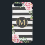 "Modern Floral Decor Black White Stripes Monogram iPhone 8 Plus/7 Plus Case<br><div class=""desc"">Decorate your iPhone in Style with this Personalized &quot;Modern Floral Decor Black White Stripes Monogram&quot; unique case! You can it with your name or text on this design. If you need further customization, please click the &quot; it&quot; button and use our design tool to resize, rotate, change colors, add text...</div>"
