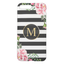 Modern Floral Decor Black White Stripes Monogram iPhone 8 Plus/7 Plus Case
