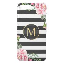 Modern Floral Decor Black White Stripes Monogram iPhone 8 Plus/7 Plus Case