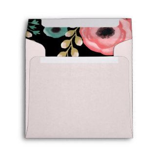 Modern Floral Design Custom Wedding Envelopes