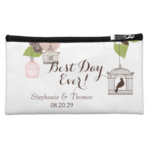 Modern Floral Design w Bird Cages n Love Birds Art Cosmetic Bags