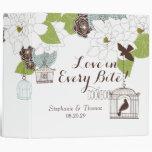 Modern Floral Design w Bird Cages n Love Birds Art 3 Ring Binder