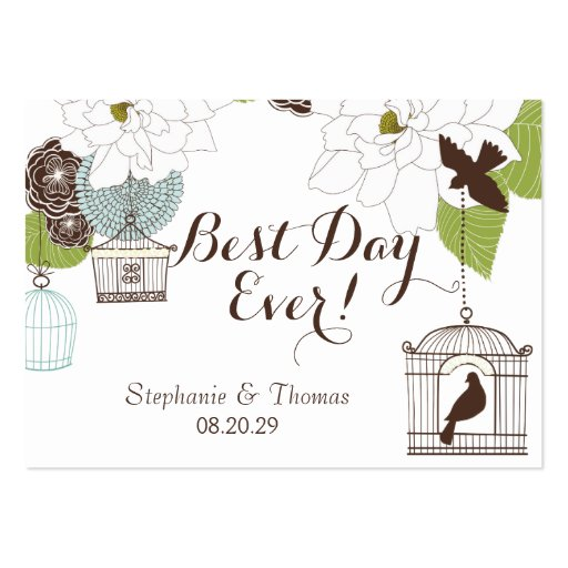 Modern Floral Design w Bird Cages n Love Birds Art Business Card Templates