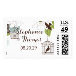 Modern Floral Design w Bird Cages n Love Birds Art Postage Stamp