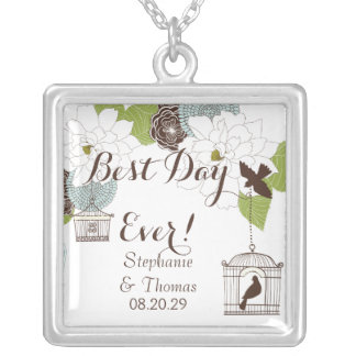 Modern Floral Design w Bird Cages n Love Birds Art Square Pendant Necklace