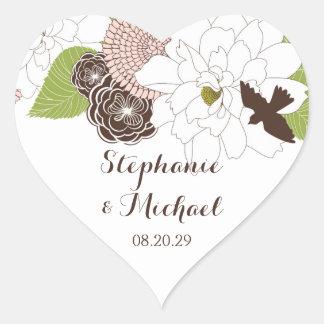 Modern Floral Design w Bird Cages n Love Birds Art Heart Sticker
