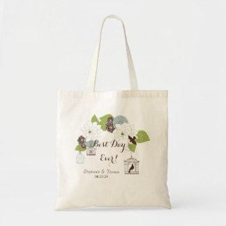 Modern Floral Design w Bird Cages n Love Birds Art Tote Bag