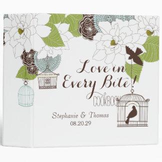 Modern Floral Design w Bird Cages n Love Birds Art Vinyl Binder