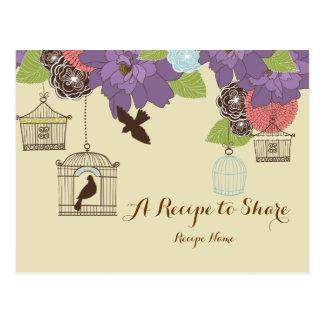 Modern Floral Design w Bird Cages Recipe Cards