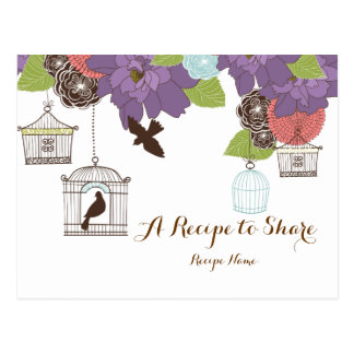 Modern Floral Design w Bird Cages Recipe Cards Postcard