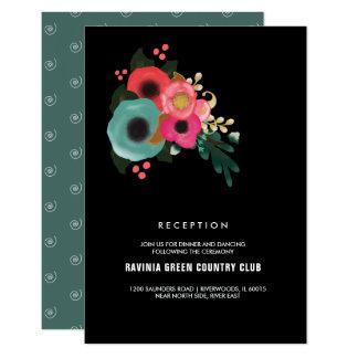 Modern Floral  Design Wedding Reception Cards