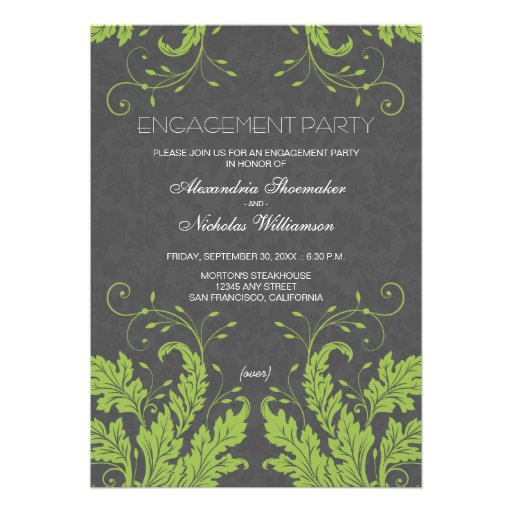 Modern Floral Engagement Party Invite (lime)