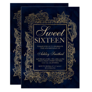 Modern floral faux gold navy watercolor Sweet 16 Card