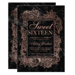 Modern floral faux rose gold black marble Sweet 16 Card