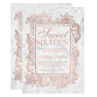 Modern floral faux rose gold marble chic Sweet 16 Card